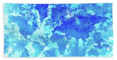 Aqua World Map Bath Towel