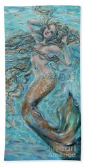 Hand Towel featuring the painting Aqua Yoga by Linda Olsen