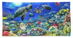Bath Towel featuring the painting Aquarium by Harry Warrick