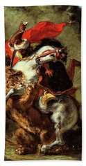 Arab Horseman Attacked By A Lion Hand Towel by Eugene Delacroix