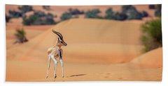Bath Towel featuring the photograph Arabian Gazelle by Alexey Stiop