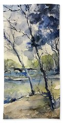 Arbres Bleus Hand Towel by Robin Miller-Bookhout