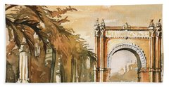 Hand Towel featuring the painting Arch- Barcelona, Spain by Ryan Fox