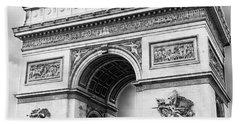 Arch Of Triumph - Paris - Black And White Bath Towel
