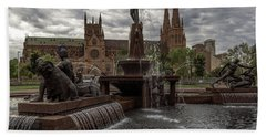 Archibald Fountain And St Mary's Cathedral Bath Towel