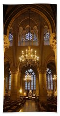 Architectural Artwork Within Notre Dame In Paris France Bath Towel