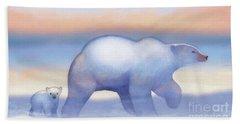 Arctic Bears, Journeys Bright Hand Towel by Tracy Herrmann