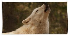 Arctic Wolf Howling Hand Towel