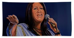 Aretha Franklin Painting Hand Towel