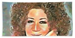 Bath Towel featuring the painting Aretha Franklin by Wayne Pascall