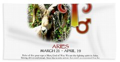 Aries Sun Sign Hand Towel by Shelley Overton