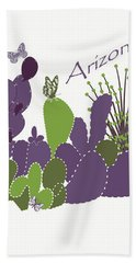 Hand Towel featuring the digital art Arizona Cacti by Methune Hively