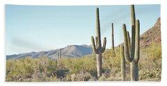 Arizona Cactus Blue Sky Landscape Bath Towel by Andrea Hazel Ihlefeld