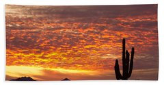 Arizona November Sunrise With Saguaro   Hand Towel