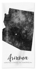 Arizona State Map Art - Grunge Silhouette Bath Towel