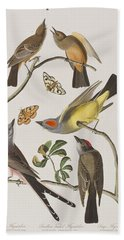 Arkansaw Flycatcher Swallow-tailed Flycatcher Says Flycatcher Hand Towel by John James Audubon
