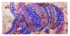 Hand Towel featuring the painting Armadillo by J- J- Espinoza