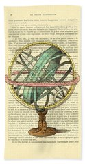 Armillary Sphere In Color Antique Illustration On Book Page Hand Towel