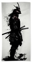 Hand Towel featuring the mixed media Armored Samurai by Nicklas Gustafsson