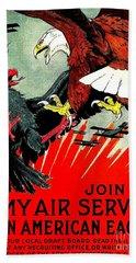 Army Air Service Recruitment Poster 1918 Bath Towel