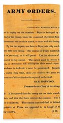 Texian Army Orders Call To Arms Broadside From Sam Houston 1836 Texas Revolution Bath Towel