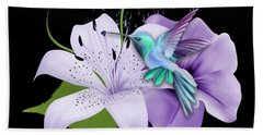 Hand Towel featuring the mixed media Arrival Hummingbird by Marvin Blaine