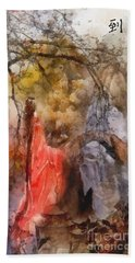 Hand Towel featuring the painting Arrival by Mo T
