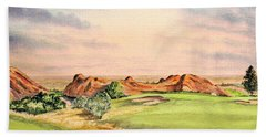 Hand Towel featuring the painting Arrowhead Golf Course Colorado Hole 3 by Bill Holkham
