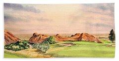 Bath Towel featuring the painting Arrowhead Golf Course Colorado Hole 3 by Bill Holkham
