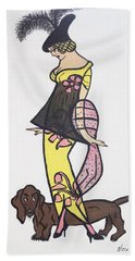 Art Deco  1920's Girls And Dogs Bath Towel by Nora Shepley
