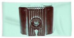 Art Deco Baby Brownie Blue Camera Bath Towel