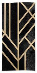 Art Deco Black Bath Towel