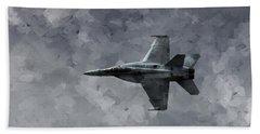Aaron Berg Hand Towel featuring the photograph Art In Flight F-18 Fighter by Aaron Lee Berg