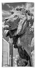 Art Institute In Chicago Lion Black And White Hand Towel