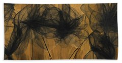 Art Of Elegance- Black And Gold Abstract- Muted Gold  Hand Towel