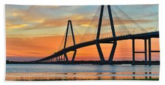 Arthur Ravenel Jr. Bridge At Dusk - Charleston Sc Hand Towel