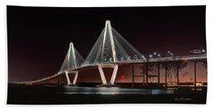 Arthur Ravenel Jr. Bridge At Midnight Hand Towel by George Randy Bass
