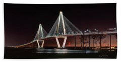 Bath Towel featuring the photograph Arthur Ravenel Jr. Bridge At Midnight by George Randy Bass