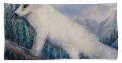 Hand Towel featuring the painting Artic Fox by Bernadette Krupa
