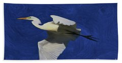 Hand Towel featuring the painting Artistic Egret by Deborah Benoit