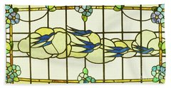 Arts And Crafts Panel Of A Group Of Swallows Before Clouds In A Border Of Flowers Hand Towel