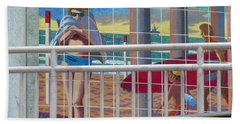 Artwork On The Boardwalk - Huntington Beach Hand Towel by Lori Seaman