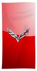 Chevrolet Corvette - 3d Badge On Red Hand Towel