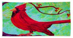 Bath Towel featuring the painting Festive Cardinal by Eloise Schneider