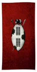 Zulu War Shield With Spear And Club On Red Velvet  Hand Towel