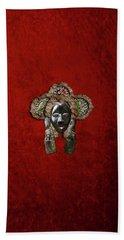Dan Dean-gle Mask Of The Ivory Coast And Liberia On Red Velvet Hand Towel