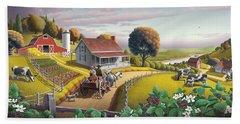 Appalachian Blackberry Patch Rustic Country Farm Folk Art Landscape - Rural Americana - Peaceful Bath Towel