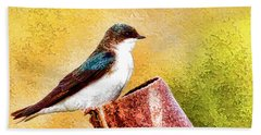 Hand Towel featuring the photograph Male Tree Swallow No. 2 by Bill Kesler