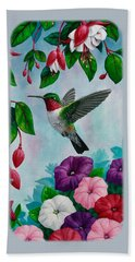 Hummingbird Greeting Card 1 Hand Towel by Crista Forest