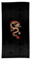 Golden Chinese Dragon Fucanglong On Black Silk Bath Towel